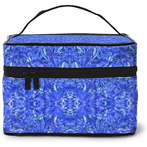 Delfts Blauw Bladeren Draagbare Dames Reizen Cosmetische Case Bag Opslag Make-up Pouch Multi-Functie Wassen Grote Capaciteit Make-up Bag