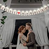 Just Married Banner, Wedding Bunting Banner with 8 Flicker Mode LED Fairy String Light, Hanging Sign Garland Pennant Photo Booth Props for Bridal Shower Wedding Engagement Car Party Decoration