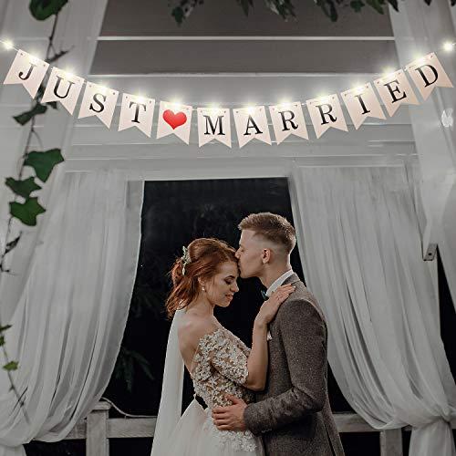 Just Married Banner, Hochzeit Bunting Banner mit 8 Flackern Mode LED Fee Lichterkette, Hängend Zeichen Girlande Wimpel Foto Stand Requisit für Braut Hochzeit Engagement Auto Party Dekoration