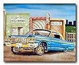 Classic Vintage Car Wall Decor Blue & Gold Lowrider Art Print Poster (16x20)