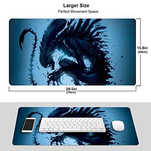 Extra Large Mouse Pad -Alien Predator Xenomorph Blue Desk Mousepad - 15.8x29.5in (3mm Thick)- XL Protective Keyboard Desk Mouse Mat for Computer/Laptop