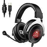 EKSA Auriculares Gaming con microfono, E900 Plus auriculares 7.1 para juegos ps4 Cancelación de ruido ambiental Headset de computadora con cable USB para colocar sobre la oreja para PC/PS4/Laptop/Mac
