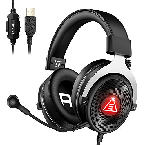 EKSA USB Gaming Headset Headphones, E900 Plus ENC 7.1 Virtual Surround Sound Wired Overear PC Computer Headset Headphone with Microphone LED Light for PS4/PS5/Mac/Laptop