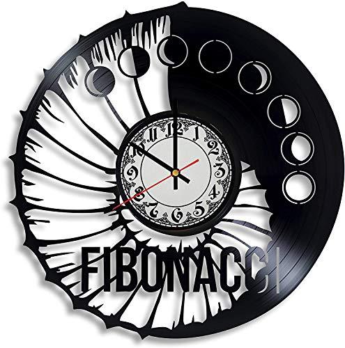 CVG Reloj de Pared con Disco de Vinilo en Espiral Fibonacci,