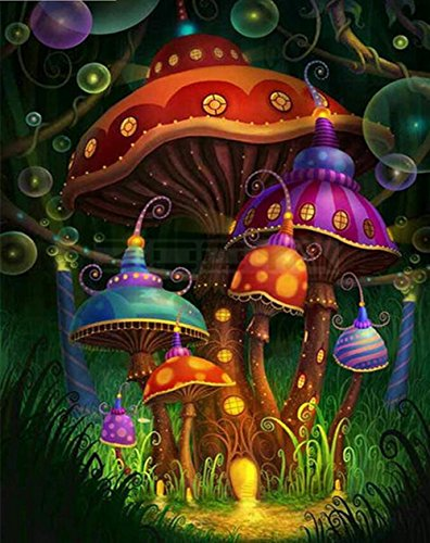 Psychedelic Mushroom -DIY 5D Diamond Painting by Number Kits - Paint with Diamonds Cross Stitch - Embroidery Crystal Rhinestone Pasted Drilled Arts Craft for Home(Full Drill)