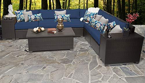 TK Classics Barbados 9 Piece Outdoor Wicker Patio Furniture Set, Navy