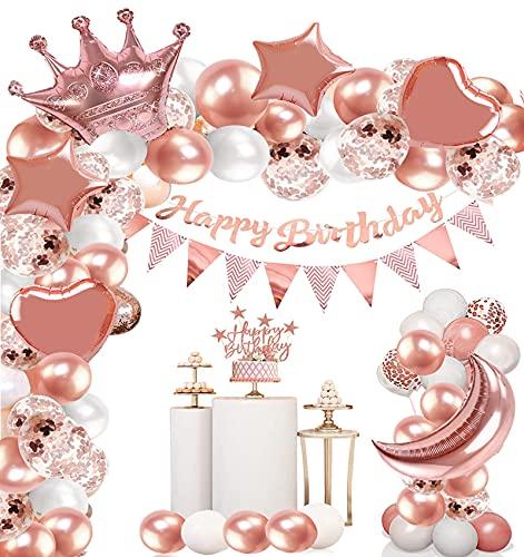136Pcs Luftballons Rosegold Folienballons,Geburtstag Deko Ballons,Luftballons Geburtstag Set,FüR MäDchen Frauen Geburtstag Party Deko,Baby Dusche Geburtstag Party Hochzeit...