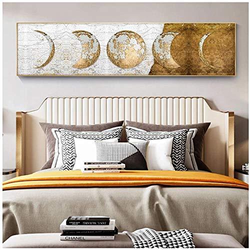 DLFALG Pintura de lienzo de arte dorado Lámina dorada Lienzo de luna Carteles artísticos e impresiones Imágenes de pared para la decoración del hogar de la sala de estar -30x120cm Sin marco