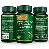 Natrition Green Coffee Bean Plus Green Tea Extract Blend Capsules - Weight Loss Herbal Supplement Mix - 60 Capsules per Bottle, 1 Month Supply