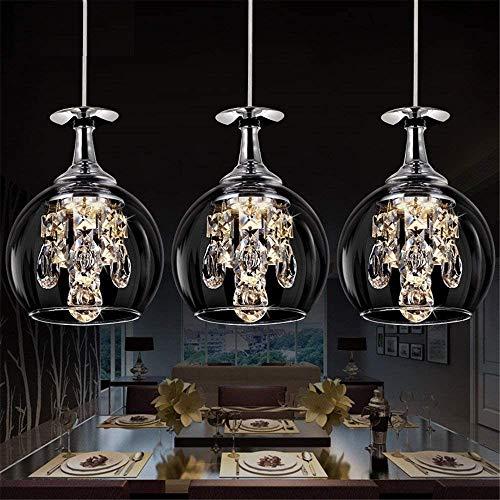 Feuilles LED Kristall Pendelleuchte Esstischlampe Modern Design DREI Weinglas Kronleuchter 15W Kristalllampe Deckenleuchte Elegant Hängelampe für Esszimmer Wohnzimmer Restaurant