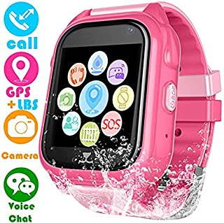 Kids Smart Watch with GPS Tracker,Kids Smartwatch Waterproof,HD Touch Screen Fitness Tracker SOS Camera,Watch Wrist Digital Watch Android Phone,Sport Smartwatch for Girls Boys iOS & Android (S8-pink)