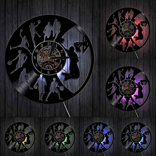 HIDFQY Basketball Dunk Hauptdekoration Wanduhr Basketballspieler Silhouette Vinyl Schallplatte Uhr Wanddekoration mit LED