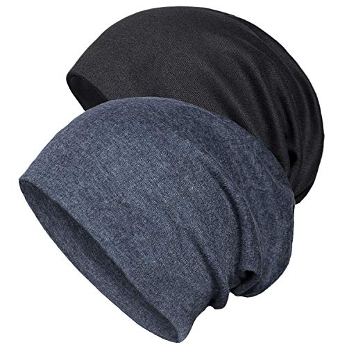 Senker 2 Pack Cotton Slouchy Beanie Hats, Chemo Headwear Caps for Women and Men