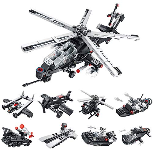 CLOURF ModelGunship Building Toy kit 8in1 Compatible with Most Major Brands of Building Bricks