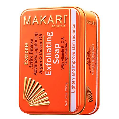 Makari Extrême Savon Éclaircissant aux huiles d'Argan & de Carotte (7 oz.) Action anti-âge éclaircissante et exfoliante à base d'Organiclarine™ – Soins éclaircissants anti-taches, acné et hyperpigment