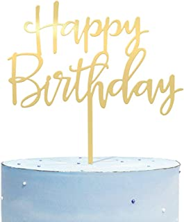 کیک تولد کیک تولدت مبارک ، شیرینی کیک همه کاره با دوام اکریلیک طلای آینه دار ، کیک تولد برای غرفه های عکس ، ایده های تزیین جشن تولد ، یادگاری عالی برای خانواده و دوستانت