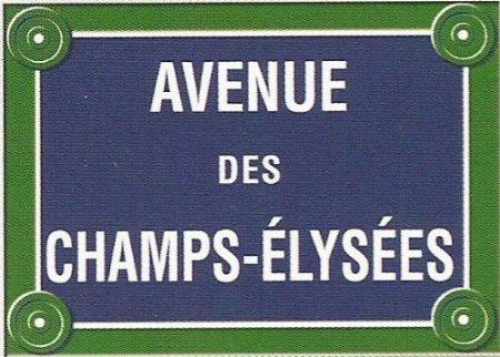 PLAQUE DE RUE METAL 30X20cm PARIS AVENUE DES CHAMPS ELYSEES FRANCE