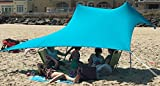 eZthings UV Light Sun Shade Protection Beach Shelters - Lightweight Tent Canopy with Sandbag Anchors (Light Blue, 7.5 x 7.5 ft - 6 ft Tall)