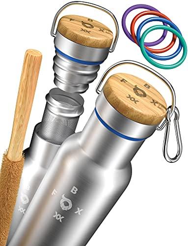 FOXBOXX® Trinkflasche Isoliert / Edelstahl Premium / TEE-Sieb + BIO-Bürste + Dichtungen [5 Farben] + Edelstahl Karabiner + GRATIS > BAG /Thermoflasche Kinder & Erwachsene (500ml, gebürstet)