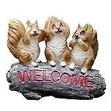 Outdoor Garten-Statue Welcome Sign Tier Miniatur Statue Harz-Fertigkeit kleines Eichhörnchen willkommenes Zeichen Figürchen for Garten-Dekoration Hof Villa Außenansicht for Garden Bar Cafe Shop, Tor,