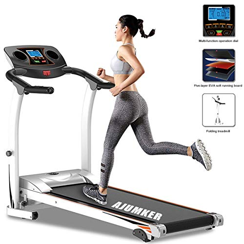 Treadmill Foldable AJUMKER Adjustable Incline Fitness Exercise Running Machines for Home Gym,1.5HP Indoor Fitness Ultra-Quiet Models Running Machine with Tablet Bottles Holder