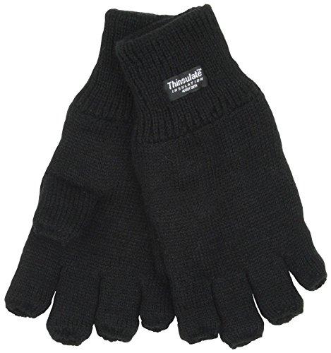 Undercover Men's Thinsulate Knitted Fleece Lined Fingerless Gloves Medium/Large Black