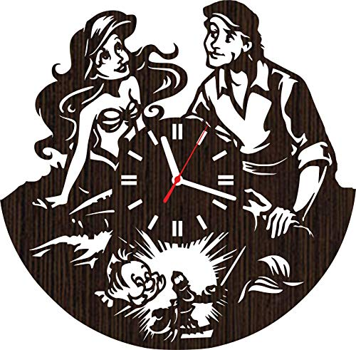 Absolutely Unique Gift Wooden Wall Clock Christmas for Fans Women Girls Princess Ariel and Prince eric Wedding Decorations Room Decor Ursula Sebastian flounder Party Supplies
