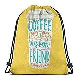 LLiopn - Zaino con coulisse, motivo: Coffee Is My Best Friend, con tazza da caffè disegnata a mano, regolabile, capacità 5 litri, regolabile.