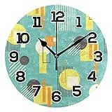 BONIPE Reloj de pared retro geométrico estilo Bauhaus abstracto, silencioso, acrílico, 22,45 cm, decoración para el hogar, oficina, escuela, reloj redondo