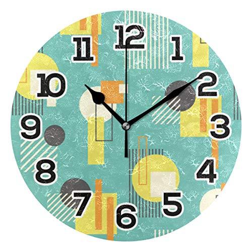 BONIPE Wanduhr im Retro-Stil, geometrisch, Bauhaus-Stil, abstraktes Muster, geräuschlos, nicht tickend, Acryl, 24 cm, für Zuhause, Büro, Schule, runde Uhr