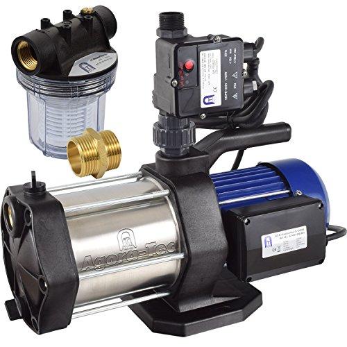 Agora-Tec® AT-Hauswasserwerk-5-1300-10DW-1L, 5 stufige Kreiselpumpe mit max: 5,6 bar und max: 5400l/h, inkl. Druckschalter mit Trockenlaufschutz und Vorfilter