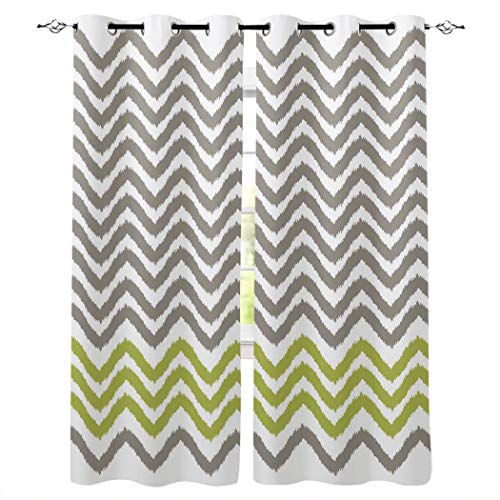 Kitchen Blackout Curtains Panels Window Treatments for Living Room Bedroom Insulated Grommet Window Curtains and Drapes,Gray White Chevron 2 Panels 52x72 Inch