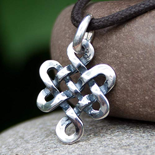 Tibetan Endless Knot Necklace Sterling Silver Infinite Celtic Irish Love Knot Pendant Mystic Buddhist Amulet Nepal Jewelry for Men Women Yoga Lover Gift/Handmade