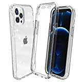 Compatible with iPhone 12 Pro Max Case Clear,Facweek Glitter Girly Bling Sparkle [Built in Screen Protector] Heavy Duty Shockproof Dual Layer Protective Cover for 12 Pro Max 2020 6.7 Inch-Clear