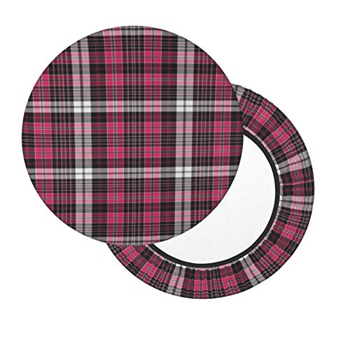 Round Bar Stool Cushions Covers Hot Pink and Black Plaid Non Slip Round Seat Cover Protector Elastic Barstools Velvet Slipcover for Circle Office Rolling Swivel Salon Tattoo Chair