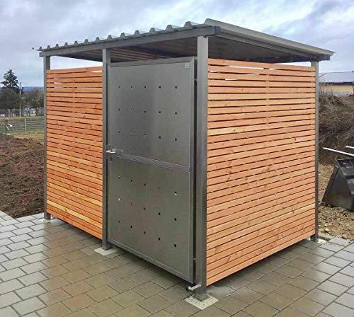 KIRCHBERGER METALL Fahrradgarage Mülltonnenhaus Überdachung Gerätehaus Gr. 1 m. Holzverkleidung Schiebetüre mit Stützfußverlängerung