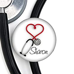 ID tag on stethoscope with name on it