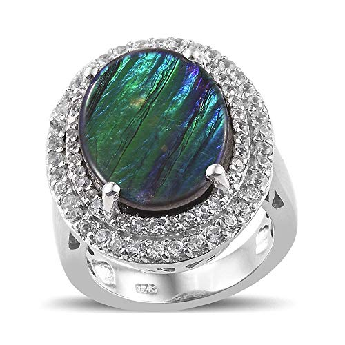 TJC AA Ammolite Halo Ring for Women Platinum Plated 925 Sterling Silver Cambodian Zircon Size N, 7.75 Ct