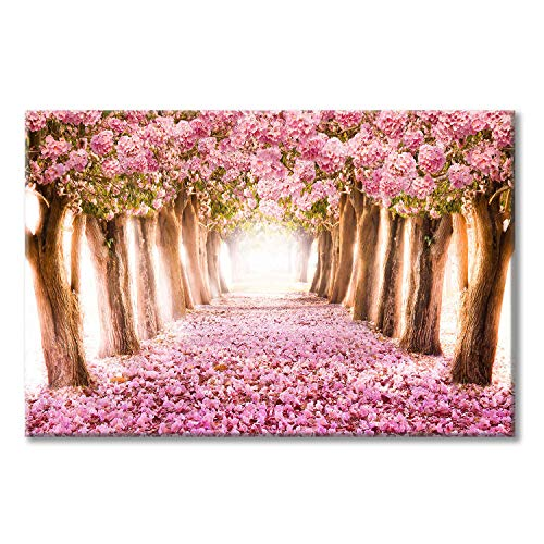 Pink Flower Tree Picture Artwork: Blooming Floral Forest Path Wall Art Painting on Canvas for Bedroom (45'' x 30'' x 1 Panel)