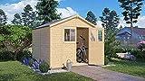 Alpholz Gerätehaus Osterbek aus Fichten-Holz | Gartenhaus mit 14mm Wandstärke | Holzhaus | Geräteschuppen Größe: 259 x 191 cm | Satteldach