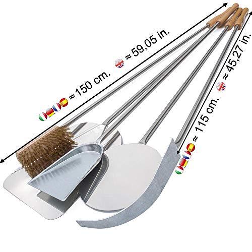 Set 5 pale per pizza in acciaio inox – kit pale da forno (lunghezza totale 150 cm.) - Giemme Spoleto