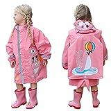 TURMIN Boys Girls Raincoat Cute Baby Rain Suit with Reflective Stripes Hat Brim Sea Style Rain Poncho Toddler Rainwear Outdoor Rain Jacket for Kids 2-10 Años-Pink-S
