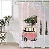 YOULIYOULA Badezimmerdekoration Schneerosa Bus Weihnachtsbaum Duschvorhang Wasserdichtes Polyester-B90cmxH180cm