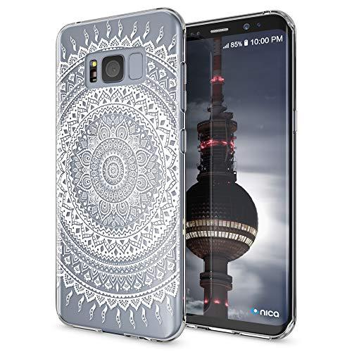 NALIA Handyhülle kompatibel mit Samsung Galaxy S8 Plus, Motiv Design Slim Silikon Hülle Cover, Crystal Schutzhülle Handy-Tasche Dünn, Muster Backcover Smart-Phone Hülle, Designs:Mandala Weiß