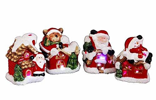HAAC - Statuetta natalizia a LED con Babbo Natale, pupazzo di neve o orso, cambia colore, 8 cm, per Natale, Natale