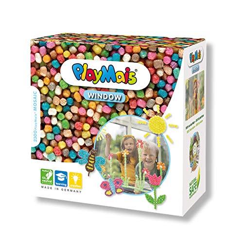 PlayMais WINDOW Kit de manualidades primavera/verano para niños a partir de 3 años I 2300 piezas de colores formato mosaico I estimula la creatividad y la motricidad I regalo para niñas