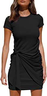 LILLUSORY Women's Summer T Shirt Dress Casual Short Sleeve 2021 Crewneck Bodycon Ruched Tie Waist Mini Dresses