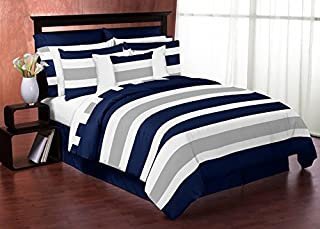 navy blue and gray bedding