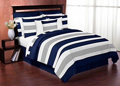 Navy Blue, Gray and White Childrens, Teen 3 Piece Full/Queen Boys Stripe Bedding Set Collection