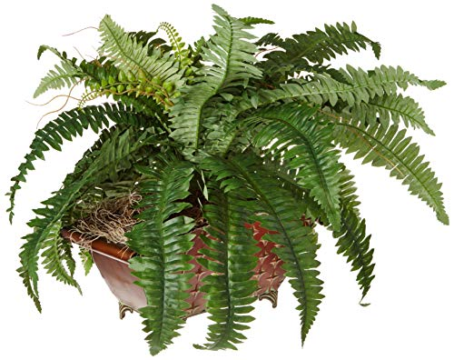 Nearly Natural 6933 Boston Fern in Metallic Planter